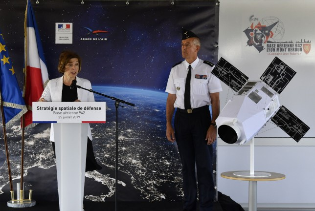 French Minister of Defence Florence Parly (L), addresses a speech next to the Air Force general Philippe Lavigne (C) to present the new Defence space Strategy on July 25, 2019 at the Command of Air Defence and Air Operations (Commandement de la defense aerienne et des operations aeriennes - CDAOA) in the base 942 on the Verdun mount in Poleymieux-au-Mont-d'Or near Lyon, eastern France. (Photo by PHILIPPE DESMAZES / AFP)PHILIPPE DESMAZES/AFP/Getty Images