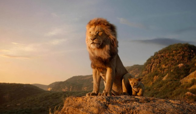 """This image released by Disney shows characters, from left, Mufasa, voiced by James Earl Jones, and young Simba, voiced by JD McCrary, in a scene from """"The Lion King."""" (Disney via AP)"""