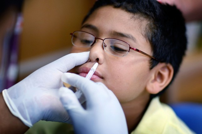 MIAMI - OCTOBER 19: Chris Diaz,8, receives a H1N1 nasal flu spray vaccine from nurse Shajaira Powell-Bailey at the Broadmoor Elementary school October 19, 2009 in Miami, Florida. The Miami-Dade County Health Department began distribution its initial shipments of the H1N1 Influenza vaccine and is launching a vaccination campaign in conjunction with the Miami-Dade County Public Schools, The Children???s Trust and The Trust???s partner health agencies. (Photo by Joe Raedle/Getty Images)