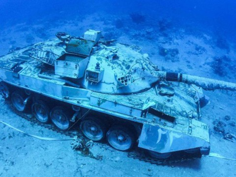You can scuba dive among tanks at underwater military museum