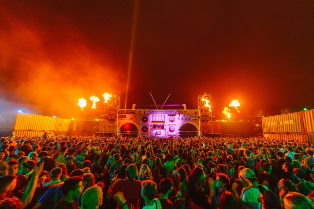 General view of Boombox stage on Day 1 of BoomTown Fair on August 14, 2015 in Winchester, England.