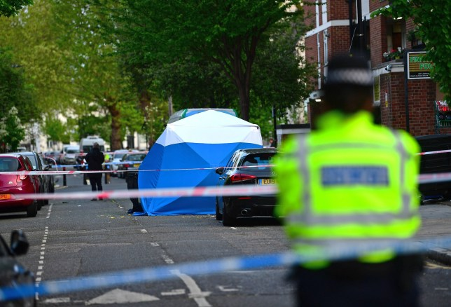 Police at the scene on Frampton Park Road in Hackney, London after a double stabbing. PRESS ASSOCIATION Photo. Picture date: Friday April 26, 2019. Officers were called to Hackney just before 2.45pm on Friday to reports of a man suffering stab injuries on Frampton Park Road. Shortly after officers arrived on the scene, they were told about another man who had been stabbed in nearby Wilton Way. See PA story POLICE Hackney. Photo credit should read: Victoria Jones/PA Wire