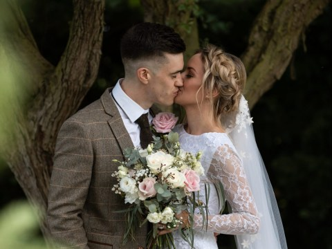 Bride ties the knot wearing a £35 dress she found in a charity shop the day after getting engaged