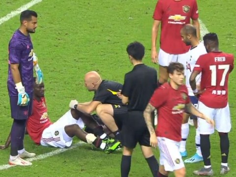 Manchester United defender Eric Bailly stretchered off against Spurs with knee injury