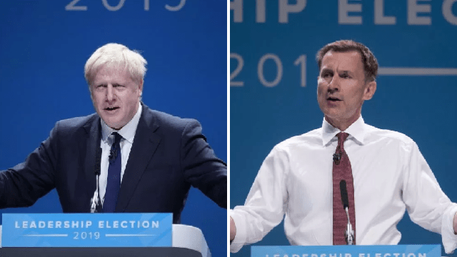 Boris Johnson and Jeremy Hunt at Manchester hustings for Tory leadership election