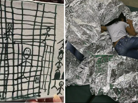 Migrant children detained at US border are drawing pictures of themselves in cages