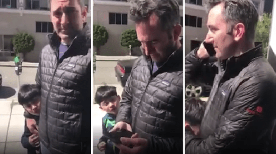 The little boy can be seen becoming increasingly upset with his father for calling police on Wesly Michel, who wanted to wait in the lobby of their building until the friend he was visiting returned