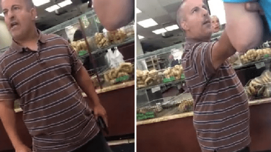 The unidentified customer erupted with fury after a worker at a bagel shop smiled at him, and claimed she was one of many women who mocked him because of his short stature