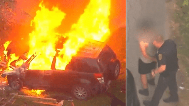 Photos of burning SUV and its 16 year-old driver being arrested by police