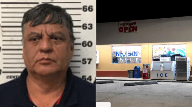 Hector Sanchez mugshot next to Save-U time convenience store.