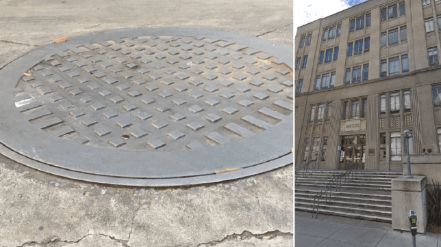 File photo of manhole next to photo of Berkeley City Hall
