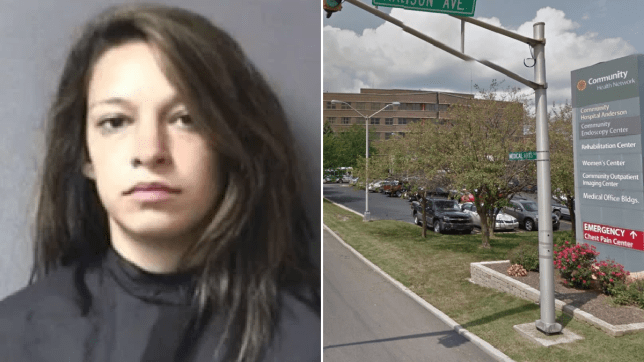 Mugshot of Jennifer Ost and stock photo of Anderson Community Hospital in Indiana