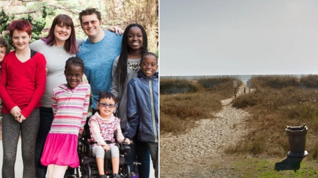 Photo of Lee Dingle with his wife and children next to photo of Oak Island Beach, where he was killed by a wave