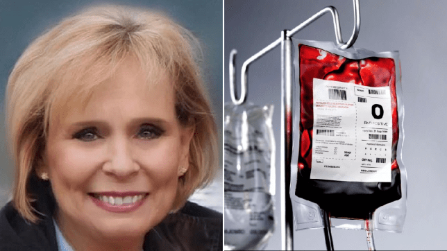 Photo of Donnamay Brockbank next to file photo of bag of blood hooked up to drip