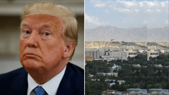 Donald Trump next to a photo of Kabul, Afghanistan