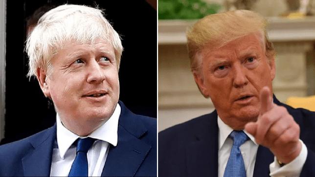 Photos of Boris Johnson and Donald Trump