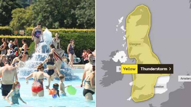 People enjoying heatwave in pool and Met Office thunderstorm warning