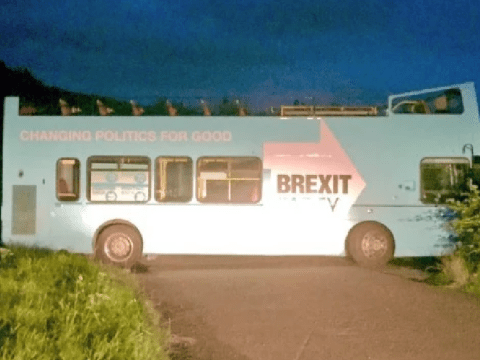 Brexit bus found dumped in middle of road at famed beauty spot