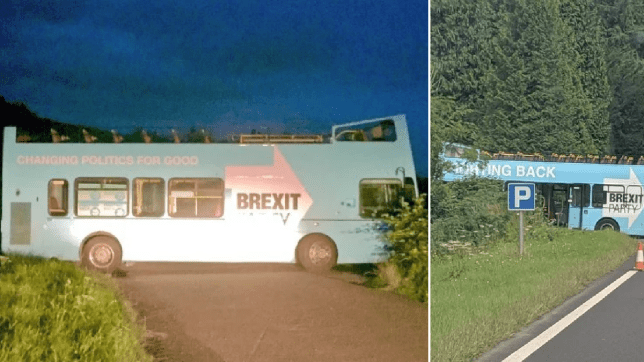Photos of abandoned Brexit Party bus dumped in middle of lay-by