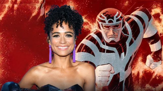 Split image of actress Lauren Ridloff and Marvel's Makkari character
