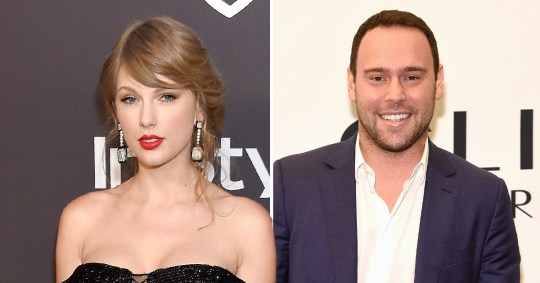 Taylor Swift in black dress on the left and Scooter Braun wearing white shirt and blue blazer on the right