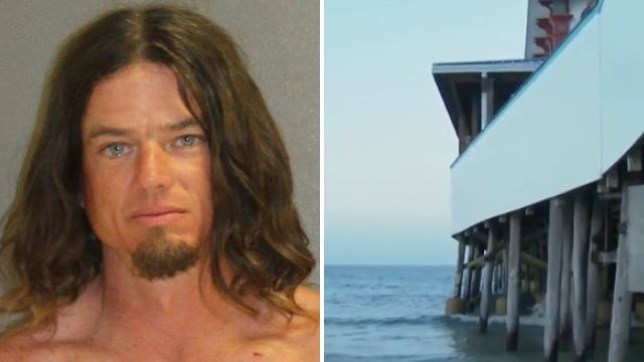 John Bloodsworth and the pier in Daytona Beach, Florida