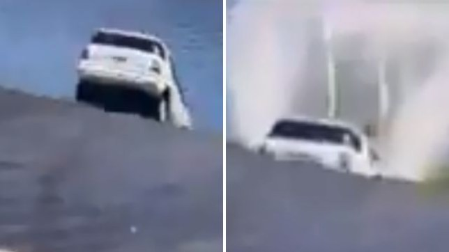 Picture of the car crashing into the water