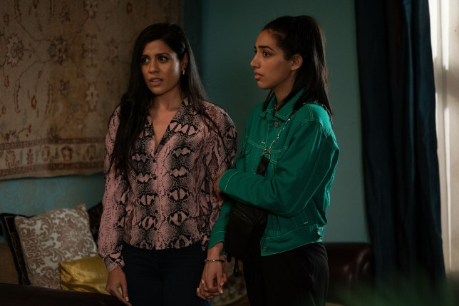 Priya Davdra and Gurlaine Kaur Garcha as Iqra and Ash in EastEnders