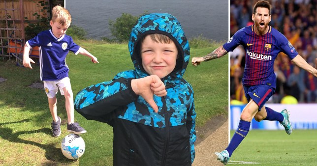 Five-year-old Andrew Smith was less than impressed when he realised he was going to find Nessie the monster, not Lionel Messi