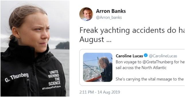 Aaron Banks tweets joke about Greta Thunberg being in yacht accident