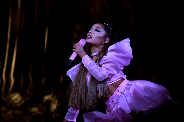A photo of Ariana Grande onstage in Los Angeles