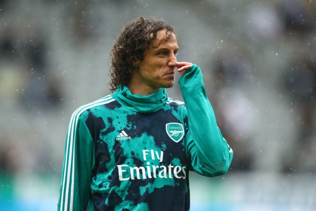 David Luiz warms up for Arsenal before their win against Newcastle United