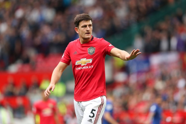 Harry Maguire issues instructions during Manchester United's win against Chelsea