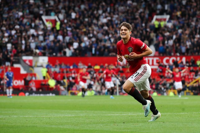 Daniel James celebrating his debut goal for Manchester United against Chelsea