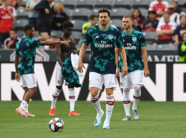 Carl Jenkinson pictured in Arsenal training during their 2019 pre-season tour