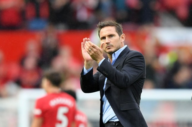 Chelsea manager Frank Lampard clapping his hands at fans at Old Trafford