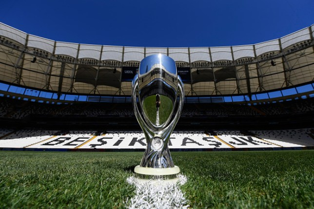 The UEFA Super Cup Trophy on the centre circle at Besiktas Park in Turkey