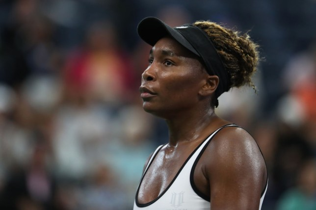 Venus Williams looks on during her US Open defeat