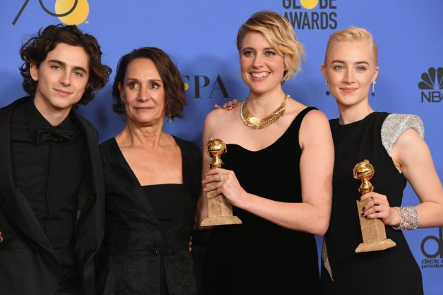 Timothee Chalamet, Laurie Metcalf, Greta Gerwig and Saoirse Ronan at the 2019 Golden Globes