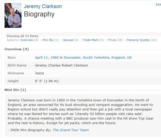 Jeremy Clarkson James May Richard Hammond's IMDB bios are