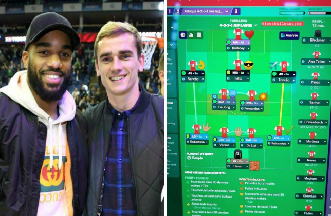 Lacazette fumes at Griezmann after he sells him to Huddersfield on Football Manager