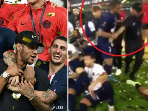 Kylian Mbappe shoves Neymar out of PSG trophy celebrations after Trophee des Champions win