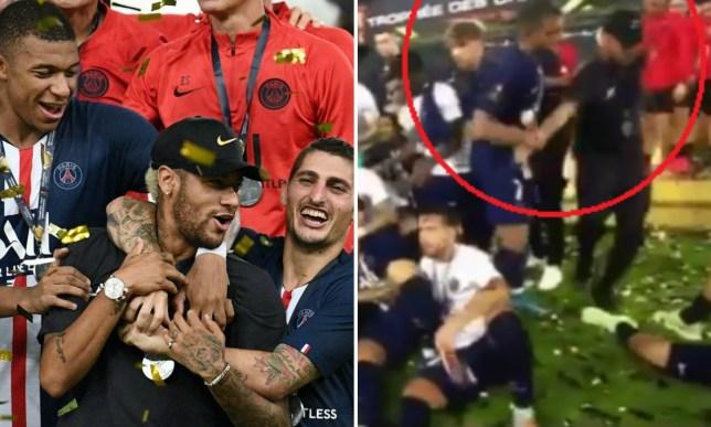 Kylian Mbappe shoves Neymar out of PSG trophy celebrations after Trophee des Champions win