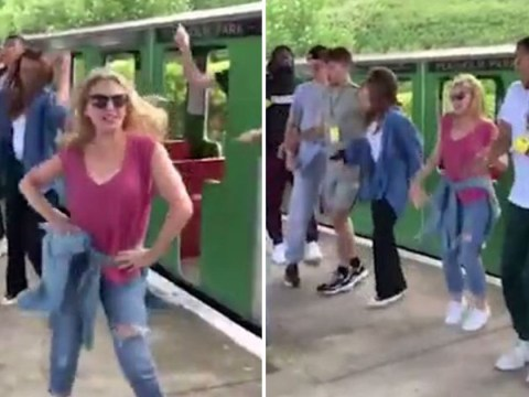 Kylie Minogue doing The Locomotion on a mini train is most incredible thing you'll see all day
