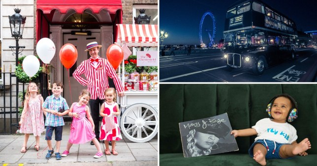 A compilation of three images: one with kids posing with balloons in front of a Chesterfield Hotel sweets cart, one of a spooky bus with the London Eye in the background and one with a baby sat on a sofa, holding a vinyl record case for a Mary J. Blige album