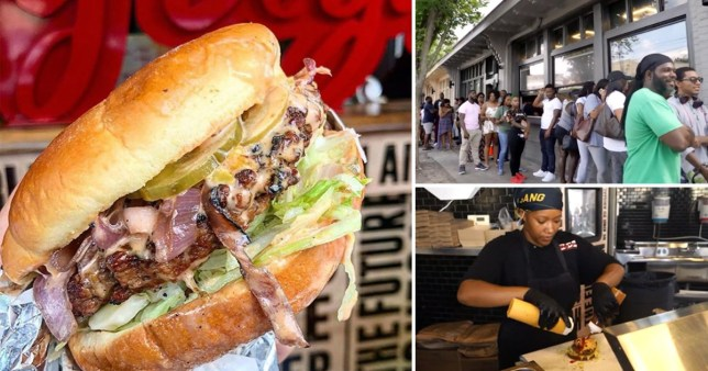 Three-way split image of a burger from Slutty Vegan in Atlanta, people queueing up and someone putting sauce on a burger