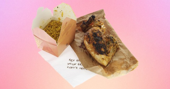 Nandos chicken and rice on a pink background