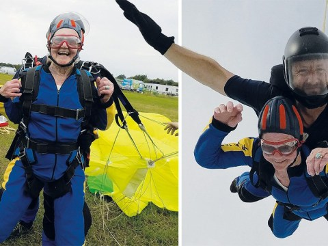 Britain's oldest female skydiver, 94, says 'it's better than watching paint dry'