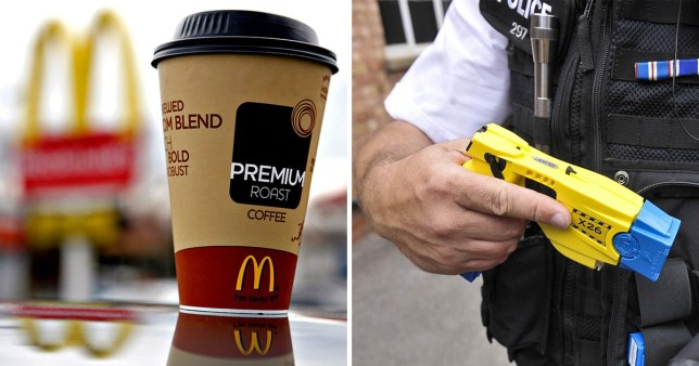 McDonald's 'clown robber' tasered by cops who popped in for coffee