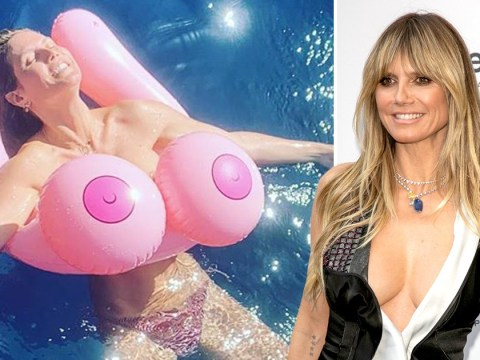 Heidi Klum shows off impressive inflatable assets in tongue-in-cheek 'topless' snap
